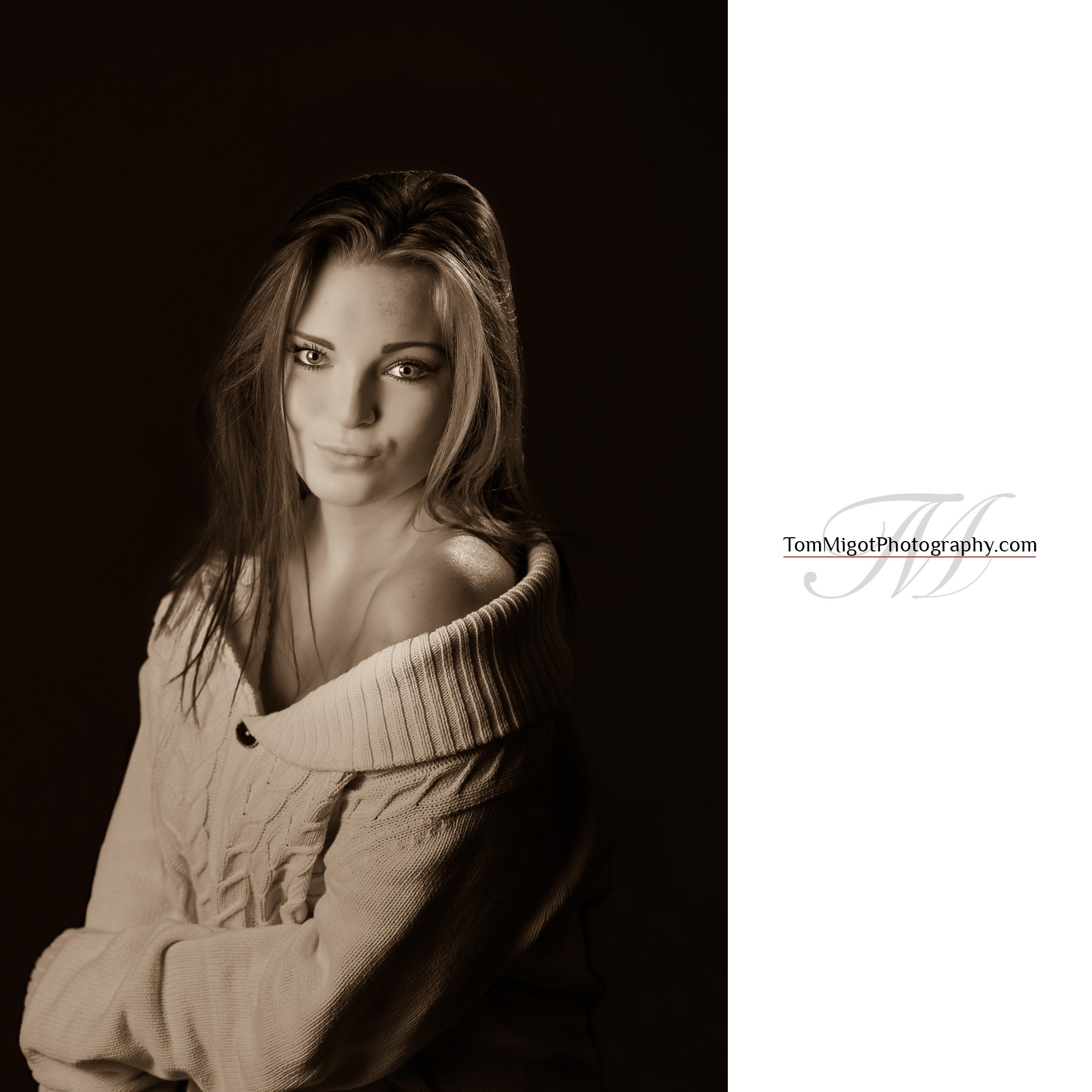 Portrait final en mode sepia d'une jeune fille Eccossaise