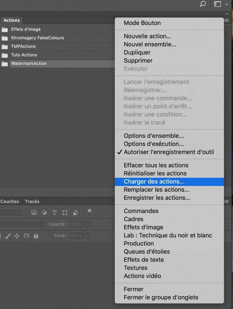 Charger des Actions dans Adobe Photoshop