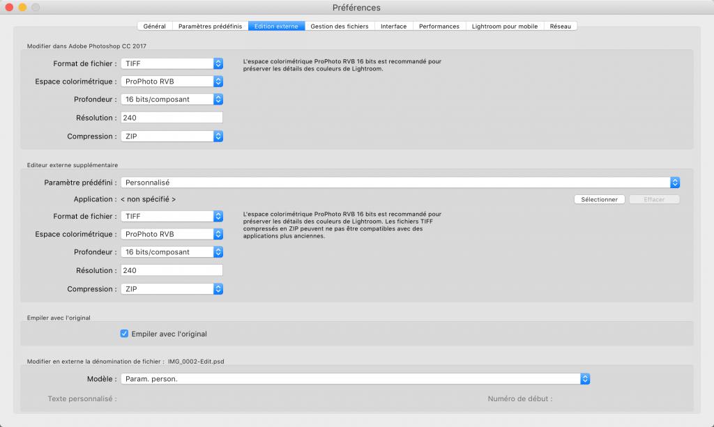 Configuration de l'espace Colorimetrique dans Lightroom pour l'export de ficher vers Photoshop