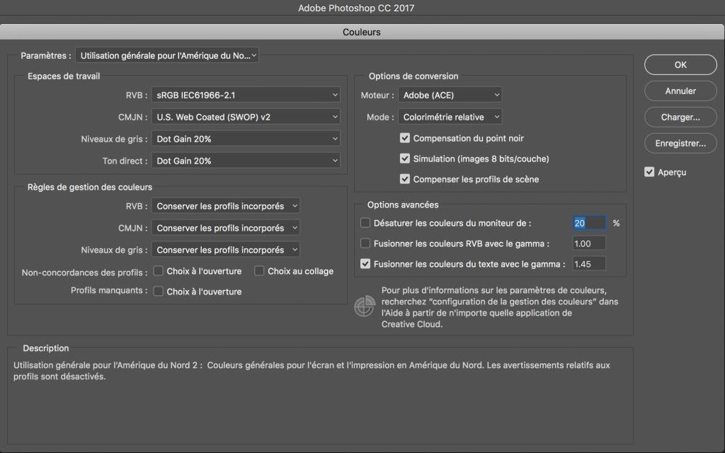 Configuration de l'espace colorimetrique dans Photoshop