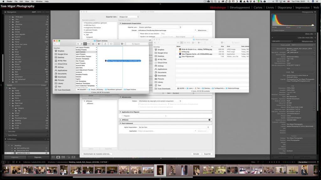 Copier coller le Droplet dans le répertoire d'Export Actions d'Adobe Lightroom