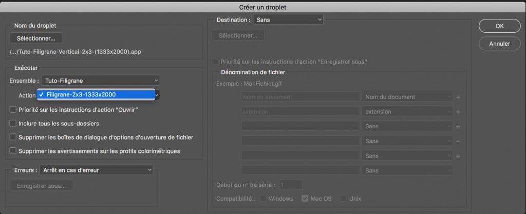 Définir l'Action pour le Droplet dans Adobe Photoshop