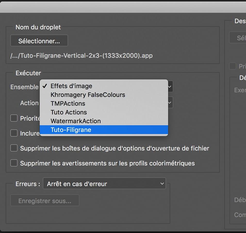 Définir l'Ensemble d'Action pour le Droplet dans Adobe Photoshop
