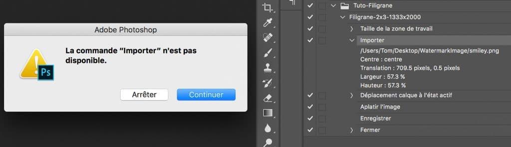 Erreur générée lors du changement du chemin d'import si aucun document n'est ouvert dans Adobe Photoshop