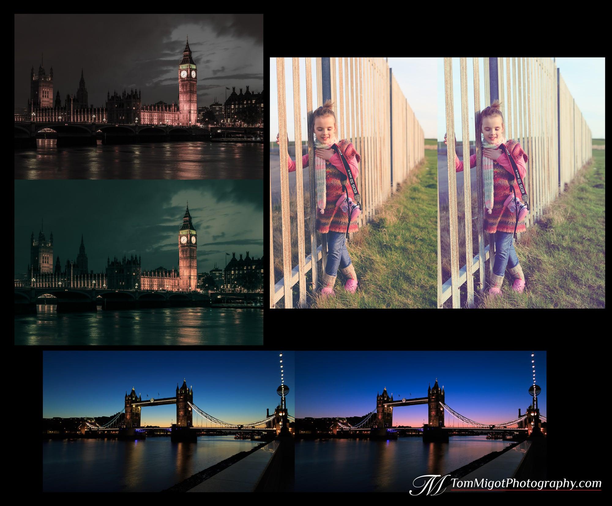 3 photos edited with Split Toning in Adobe Lightroom