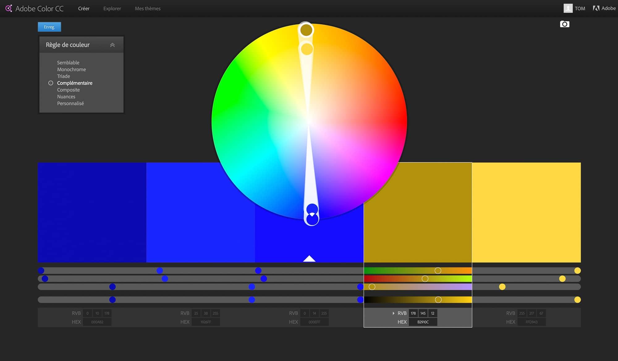 La roue chromatique par Adobe Color CC
