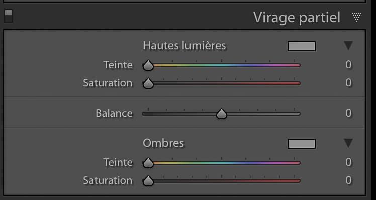 Le panneau du Virage Partiel dans Adobe Lightroom