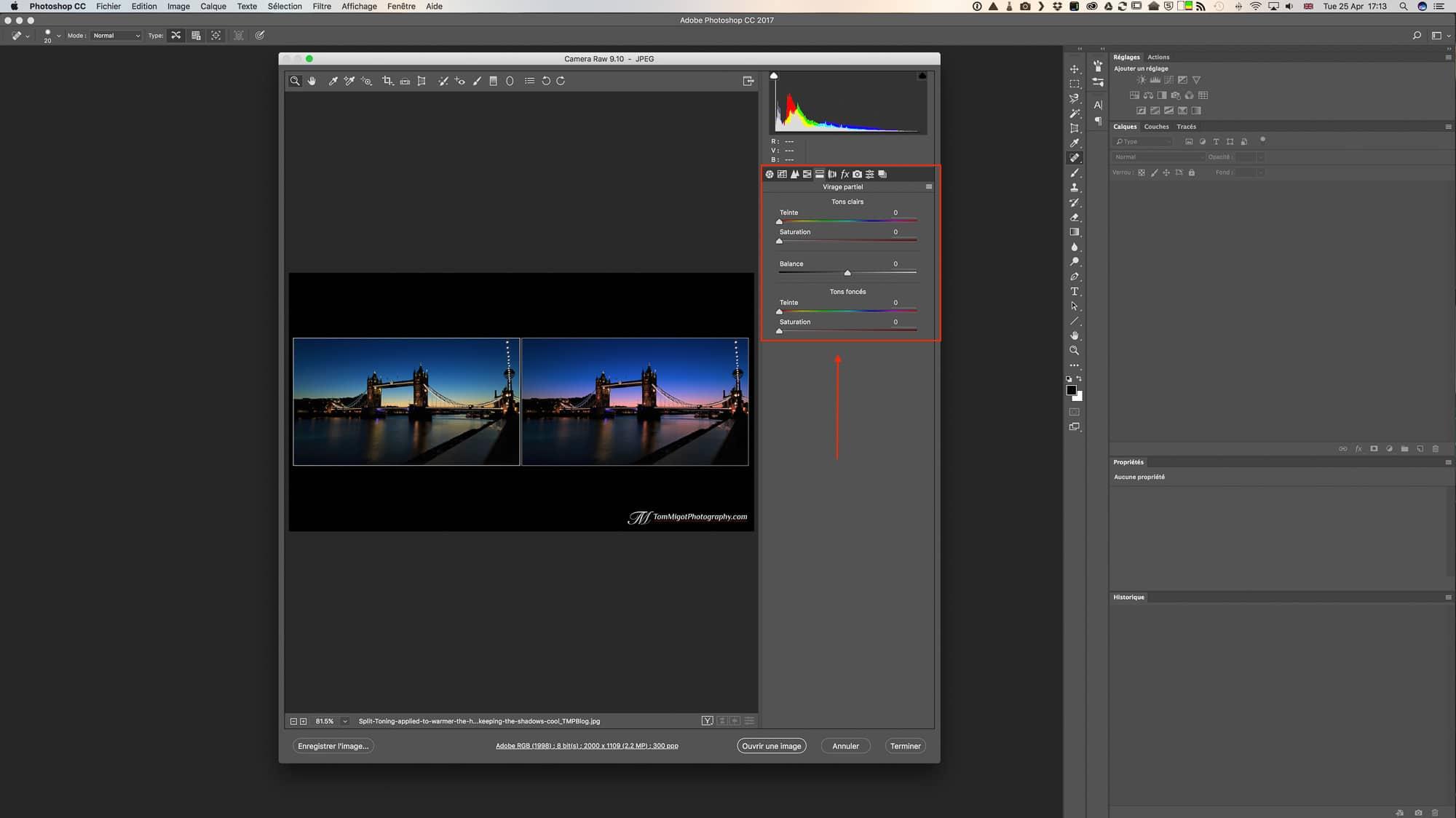 Le panneau du Virage Partiel dans Adobe Photoshop