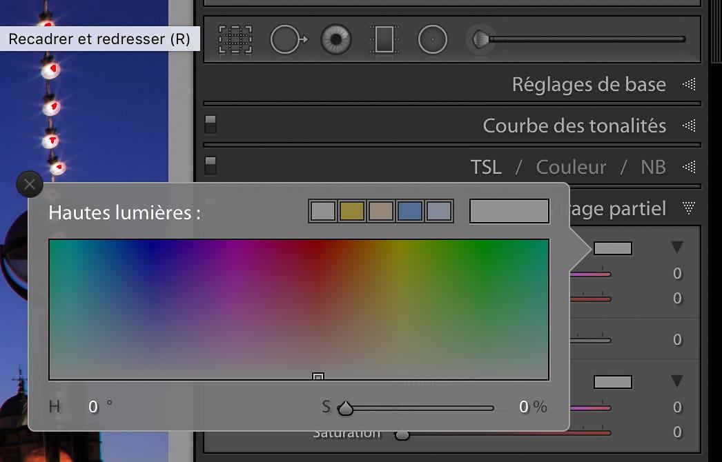 Le sélectionneur de couleur est la méthode la plus simple pour définir la teinte et le niveau de saturation pour le virage partiel