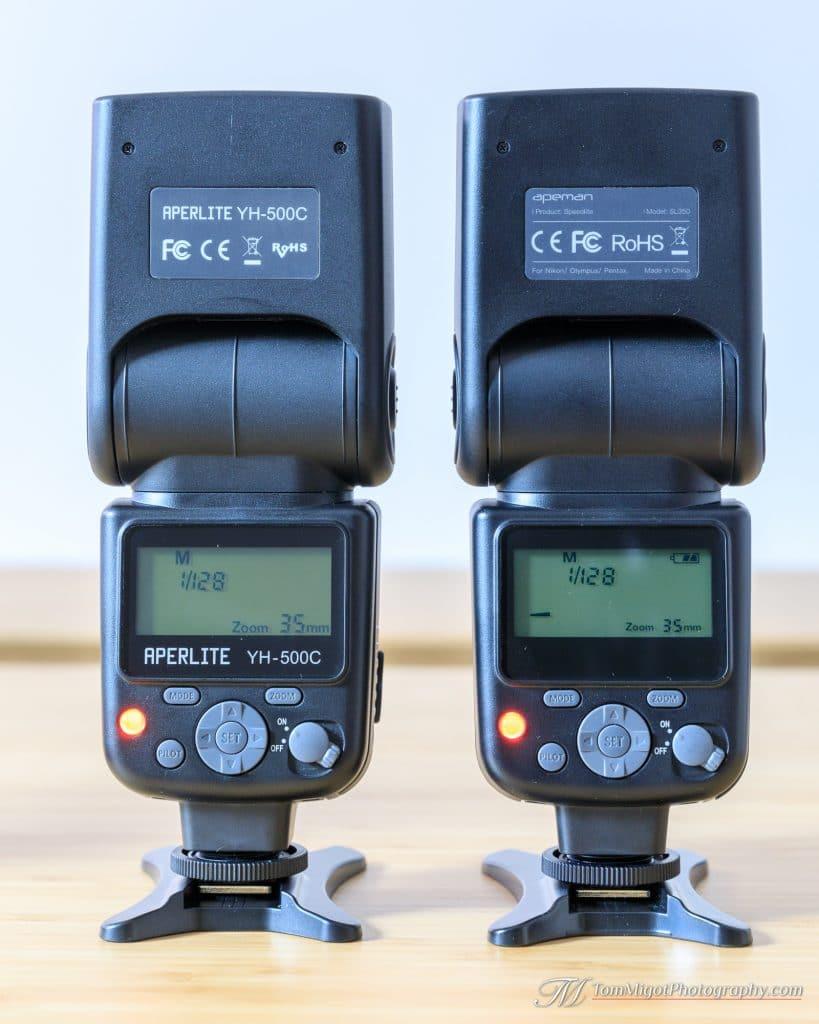 Arrière des flash Apeman SL350 & Aperlite YH-500C