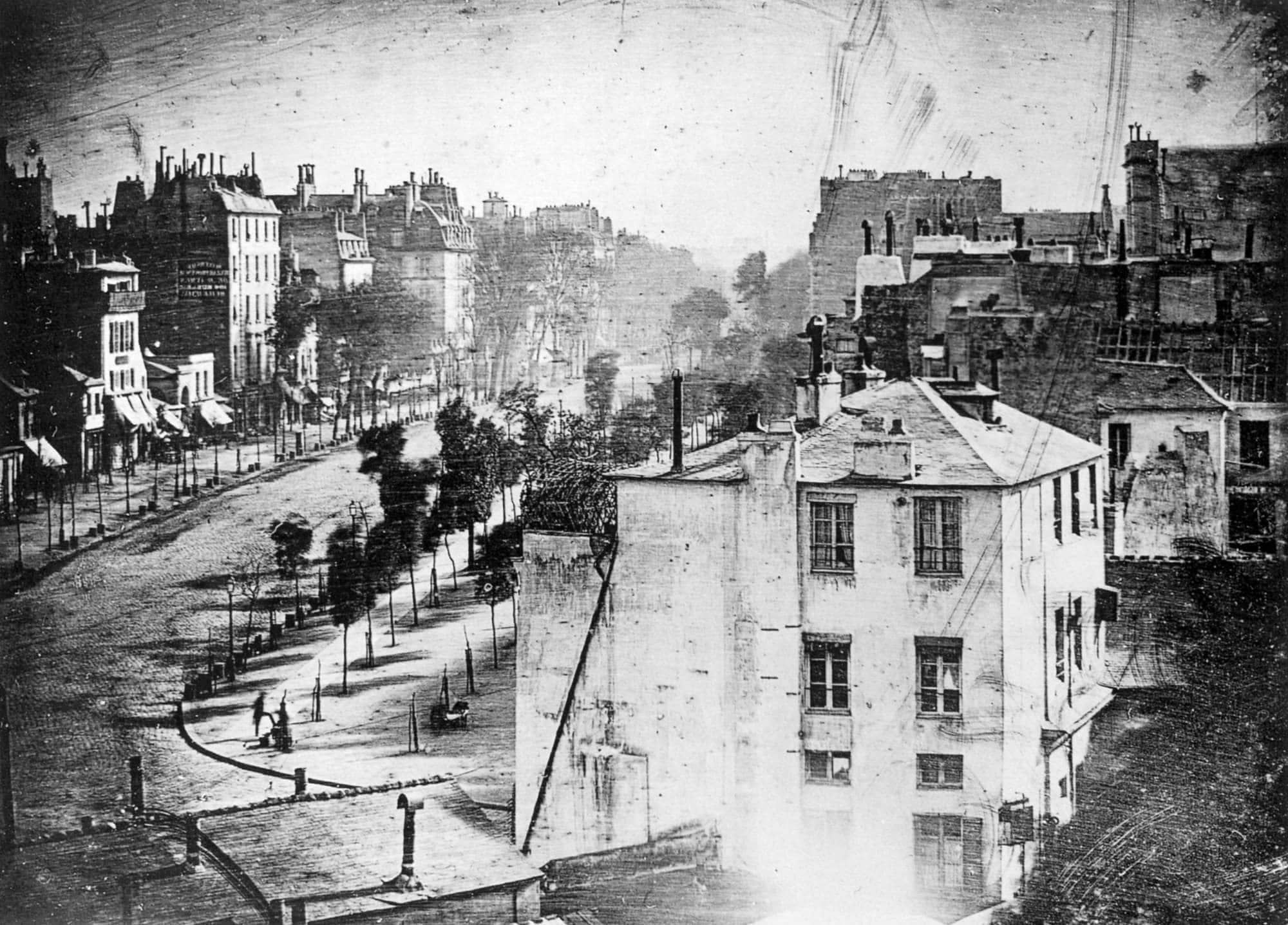 Premiere photo de gens par Louis Daguerre en 1838