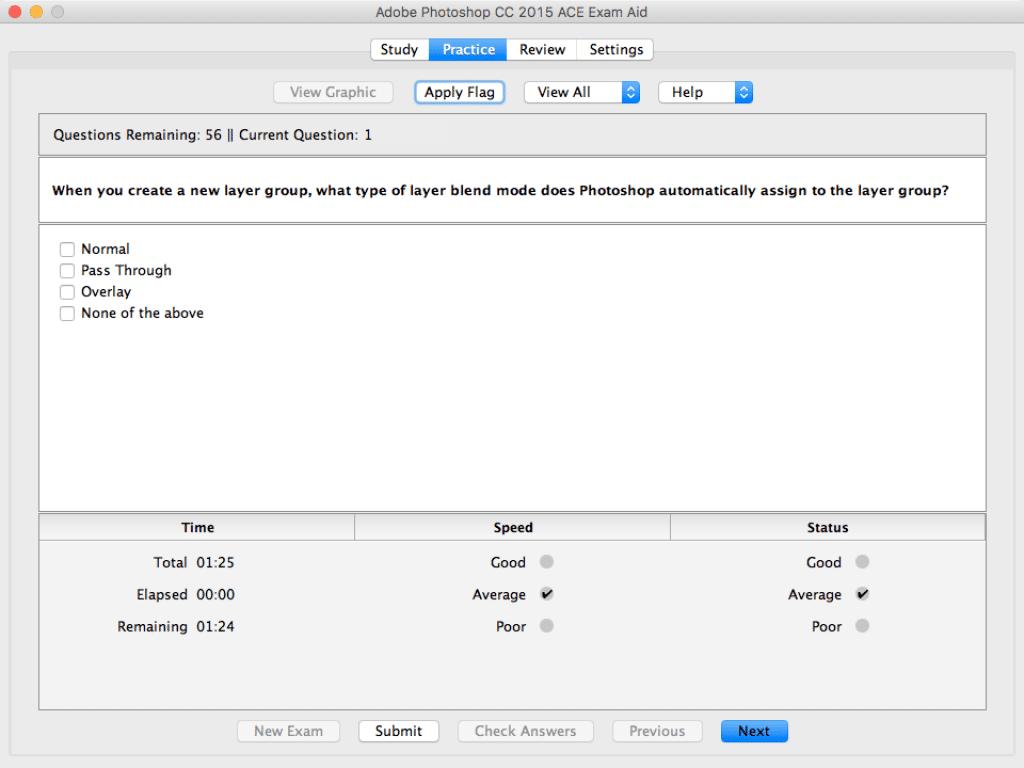 Adobe Photoshop CC 2015 ace Exam Aid (mac) Practice mode