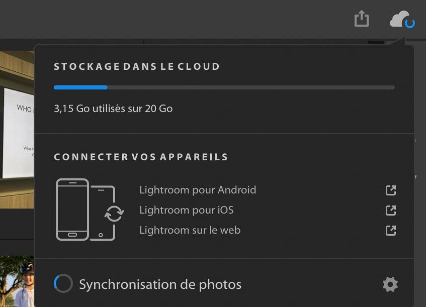 Info de synchronisation et espace de stokage sur le cloud depuis LRCC