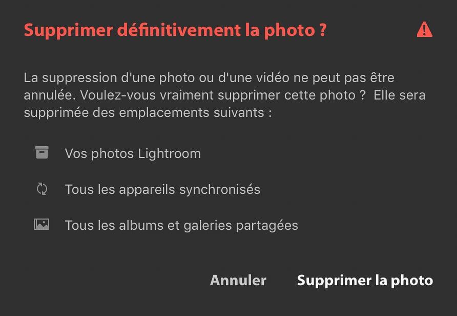 Panneau de validation d'une suppression d'image dans LRCC
