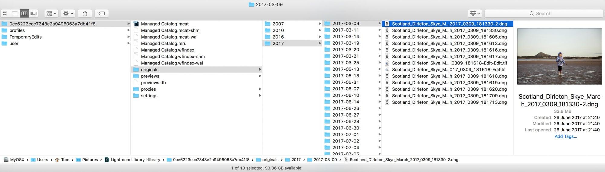 les fichiers originaux sont stockes dans LRCC sur le pc