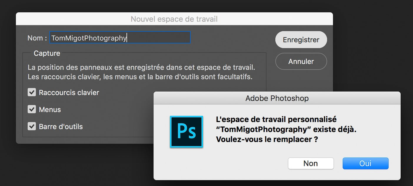 Mettre jour un espace de travail dans Photoshop en créant un nouvel espace de travail