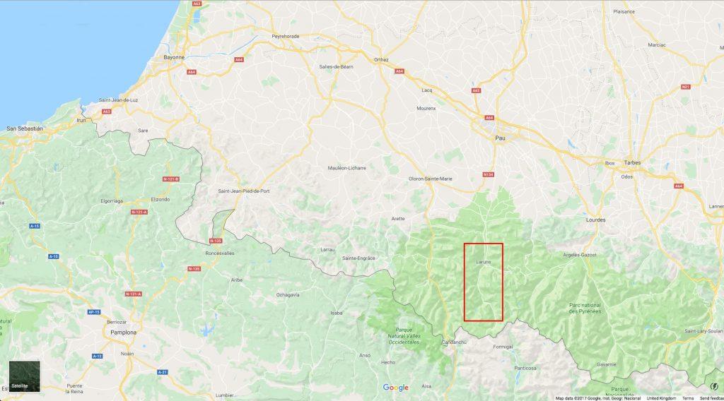 La vallée d'Ossau sur la carte