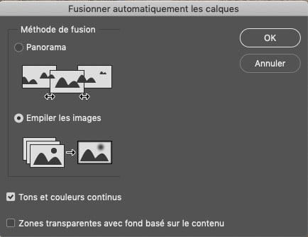 Les options de fusion automatique dans Photoshop