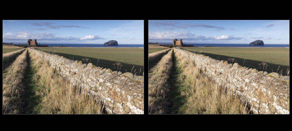 Comparaison dans Lightroom de la 1e prise de vue (gauche) et du résultat du Focus Stacking manuel (droite)