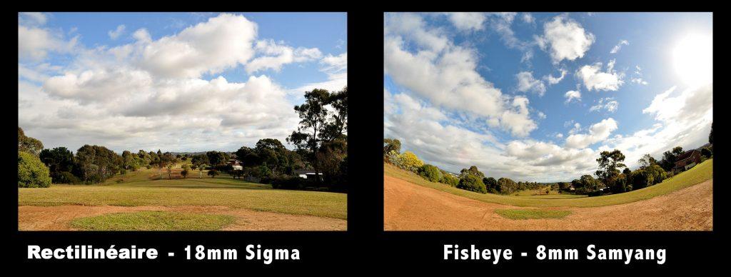 La difference entre fisheye et objectif rectilinéaires