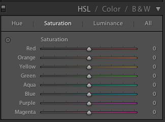 TSL / Couleur / NB dans LR
