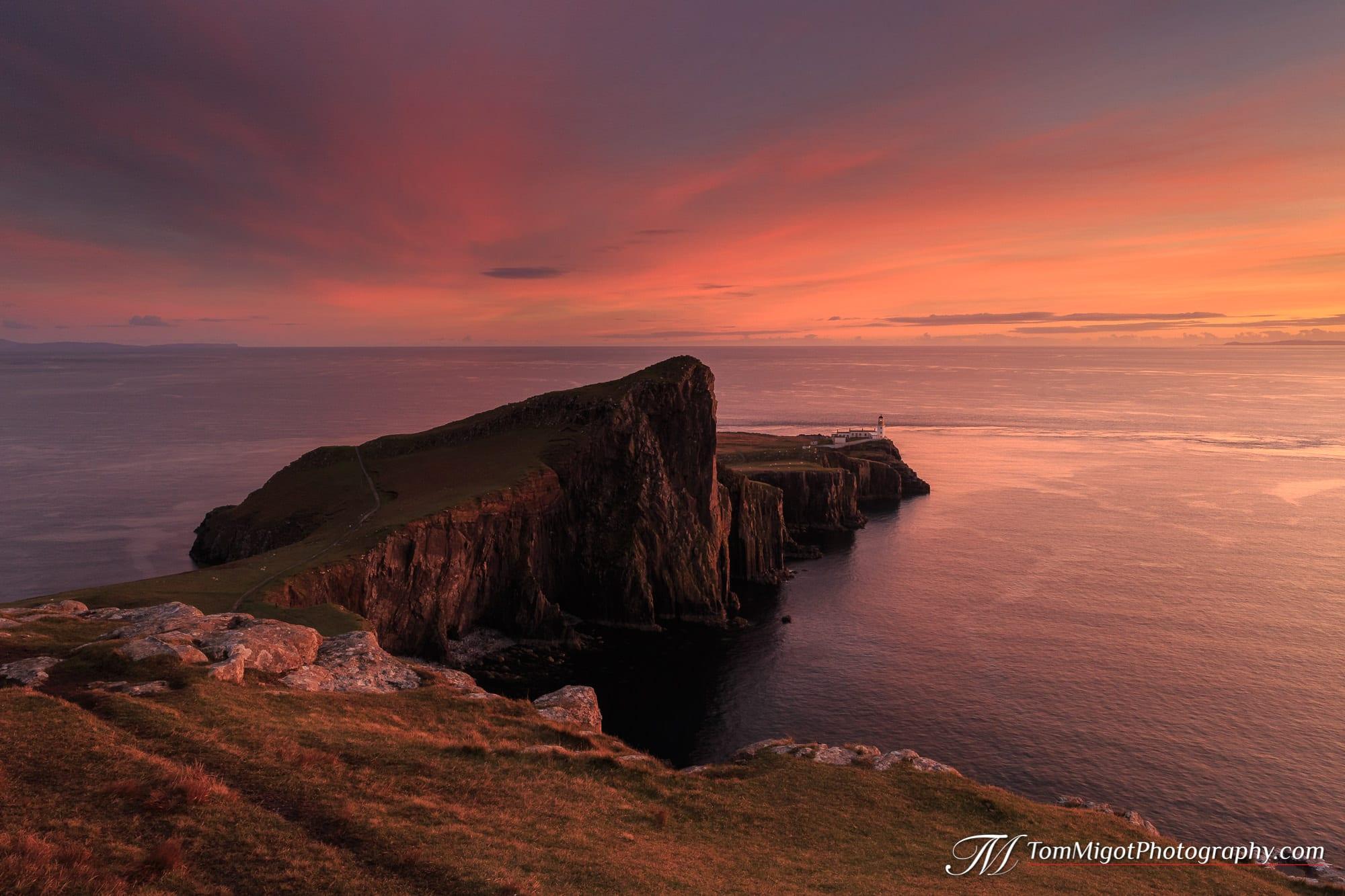 Coucher de soleil sur Neist point sur l'Ile de Skye en Ecosse photographié à l'automne