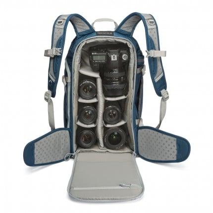Camera & lenses in the Lowepro Flipside Sport 20L AW bag pack