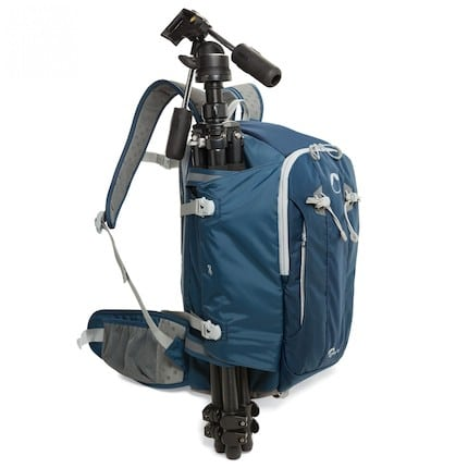Tripod attached to the Lowepro Flipside Sport 20L AW bag pack
