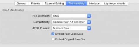 Les préférences DNG dans Adobe Lightroom
