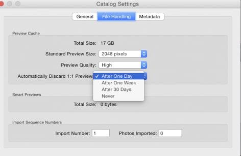Paramètre des aperçus dans Adobe Lightroom