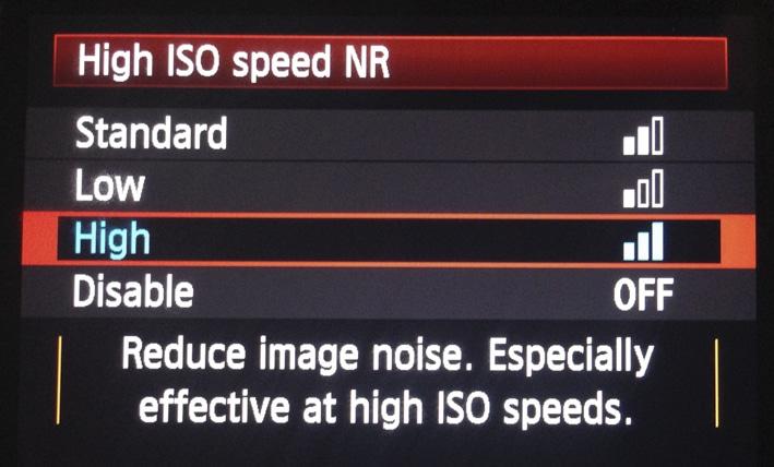 Menu Canon pour la Réduction du bruit des ISO élevés