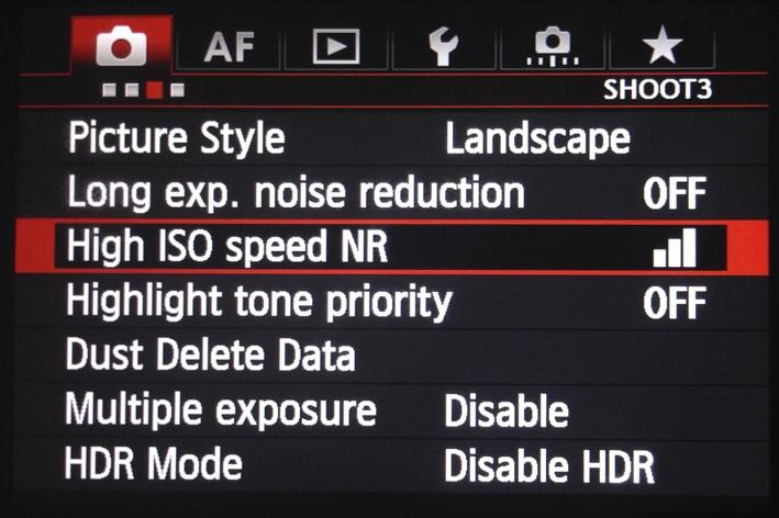 Menu Canon pour la Réduction du bruit
