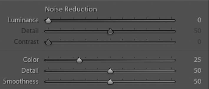 Réduction du bruit lors de l'import dans Lightroom du RAW ou la fonction intégrée de réduction du bruit été activée.