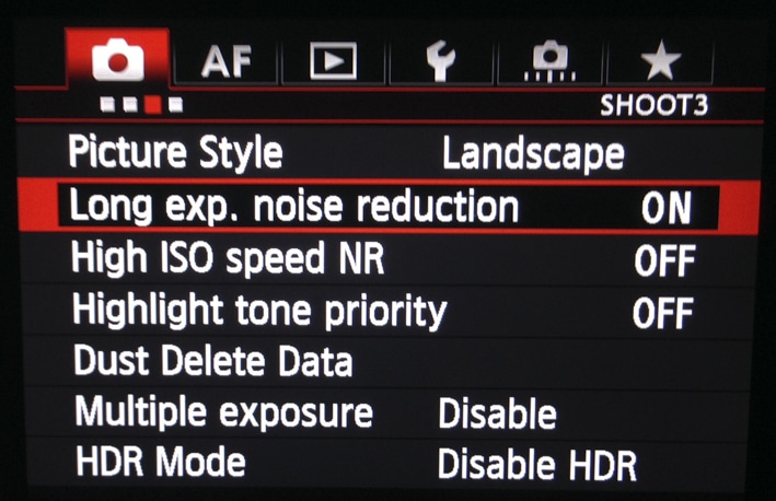 Reduction du bruit pour Exposition Longue (menu en anglais)